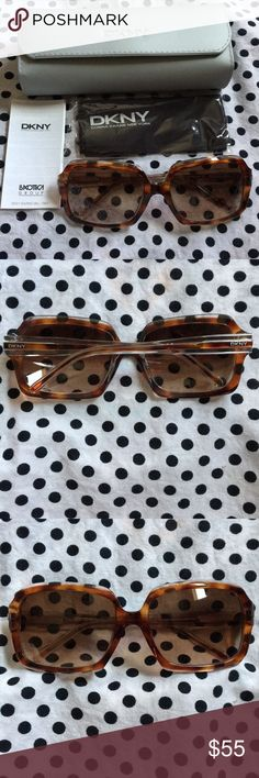 DKNY Sunglasses Cute DKNY tortoise shell colored sunglasses. Perfect for spring! Brand new never used/no visible scratches. Comes with everything in photo! Dkny Accessories Sunglasses