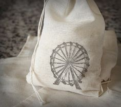 Ferris Wheel muslin cotton favor bag 10 by CherryDreamsCreation