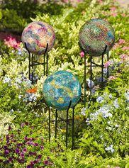 Pretty gazing balls in the flower garden...
