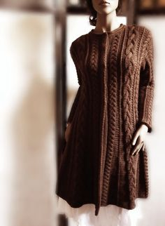 Hand Knit Wool Cable Sweater Coat Cable Knit Sweater by Pilland Knitted Coat, Hand Knitted Sweaters, Cardigan Sweaters For Women, Sweater Coats, Sweater Jacket, Brown Sweater, Merino Wool Sweater, Cable Knit Sweaters, Coats For Women