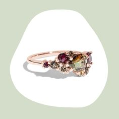 Anniversary Jewelry, Personalized Rings, Custom Jewelry Design, Champagne Diamond, Smokey Quartz, Birthstone Jewelry, Cluster Ring, Gold Jewelry, Jewellery