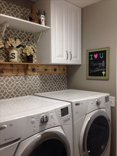 laundry room setup ideas, would add small shelf to back of washer dryer to put a few storage containers on