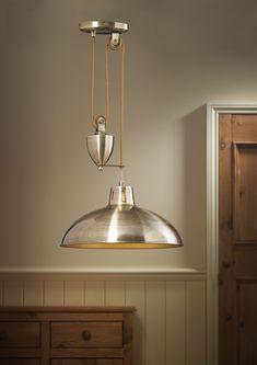 Endon POLKA-AB 1 Light Antique Brass Rise and Fall Pendant http://www.scotlightdirect.co.uk/endon-polka-ab-1-light-antique-brass/p18276