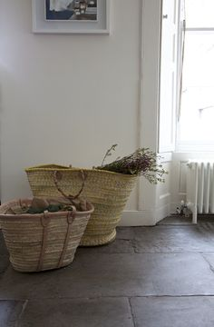 flagstone floor and baskets More