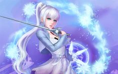 Descargar fondos de pantalla Weiss Schnee, espada, manga, personajes de anime, RWBY