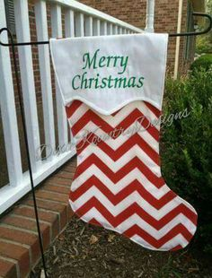 Christmas Garden Flag with Vinyl Monogram by DixieKountryDesign