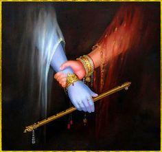 Radha Hold Out To Krishna Painting Wallpaper Señor Krishna, Krishna Flute, Radha Krishna Love Quotes, Krishna Leela, Jai Shree Krishna, Radha Krishna Pictures, Hare Krishna, Iskcon Krishna, Shri Hanuman