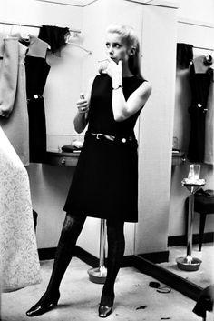 the60sbazaar:  Catherine Deneuve in Yves Saint Laurent's atelier (1967)