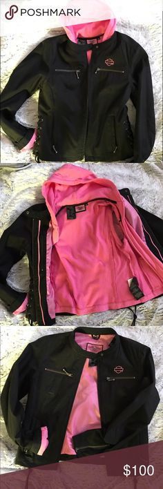 🔥Harley Davidson🔥 Jacket with vest hoodie- M 🛍Can be worn with or without pink hooded vest with no sleeves. Vest alone looks super cute 💗 Harley-Davidson Jackets & Coats