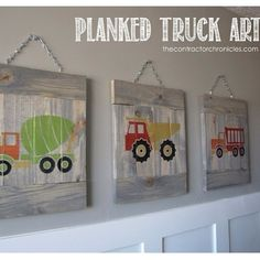 planked truck art, bedroom ideas, crafts, home decor Boys Truck Room, Truck Bedroom, Truck Nursery, Boy Room, Bedroom Themes, Kids Bedroom, Little Boy Bedroom Ideas, Construction Bedroom, Truck Art