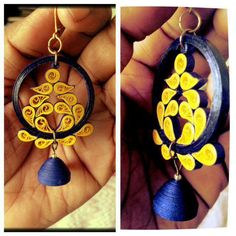 Paper quilled paisley ear rings