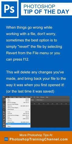 "When things go wrong while working with a file, don't worry, sometimes the best option is to simply ""revert"" the file by selecting Revert from the File menu or you can press f12.This will delete any changes you've made, and bring back your file to the way it was when you first opened it! (or the last time it was saved) #PhotoshopTutorialAdobe Photoshop Website, Learn Photoshop, Photoshop Actions, Adobe Photoshop, Photoshop Elements, Photography Software, Photoshop Photography, Photography Tips, Levitation Photography"