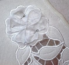 Wild Rose Cutwork Lace on a Knit Sweater - Advanced Embroidery Designs Machine Embroidery Designs, Embroidery Patterns, Advanced Embroidery, Organza, Cut Work, New Hobbies, Projects To Try, Patches, Quilts