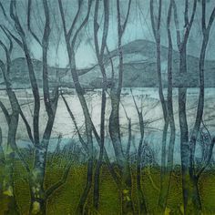 The Other Side Abstract Landscape, Landscape Paintings, Collagraph Printmaking, Modern Oil Painting, Silk Painting, Gravure, Tree Art, Textiles, Creative Art