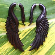 Fake Gauge Earrings - LATA Swan - Natural Black Horn - Hand Carved Jewelry on Etsy, $25.00