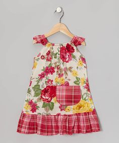 Another great find on #zulily! Hot Pink Roses Angel-Sleeve Dress - Infant, Toddler & Girls by Beary Basics #zulilyfinds