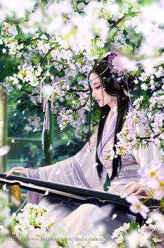 Арты художника SanMandara. арт, азия, женщина, пара, сакура, королева, длиннопост