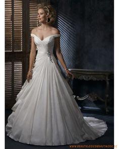 2013 Brautkleid aus Satin V-Ausschnitt und vreziertes Mieder Rock mit Schleppe