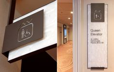 Elevator signage at Sheraton Centre Toronto by Forge Media + Design Directional Signage, Wayfinding Signs, Outdoor Signage, Environmental Design, Environmental Graphics, Hospital Signage, Hotel Signage, Architectural Signage, Media Design