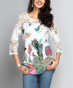 Look what I found on #zulily! White Paisley Lace-Panel Tunic #zulilyfinds