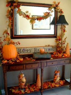 Remove the happy halloween greeting and you have a fall decoration that will work up until time to decorate for Christmas. Great idea.