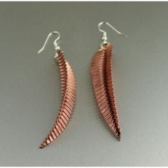 Fold Formed Copper Corrugated Leaf Earrings