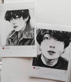 just print it Taehyung Fanart, Vkook Fanart, Dark Art Drawings, Kpop Drawings, Art Sketchbook, Cute Art, Art Sketches, Watercolor Art, Fan Art