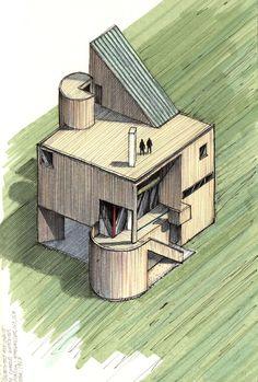 Clássicos da Arquitetura icônicos representados em perspectivas axonométricas,Casa y Estudio Gwathmey / Charles Gwathmey / 1967 . Image Courtesy of Diego Inzunza - Estudio Rosamente