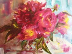 """Daily Paintworks - """"Peonies in Glass"""" - Original Fine Art for Sale - © Nadia Louderback"""