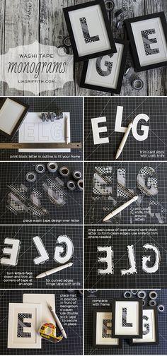 DIY WASHI TAPE MONOGRAM ART