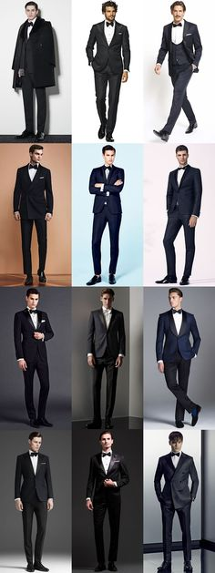 Men's Black and Midnight Blue Tuxedos Outfit Inspiration Lookbook