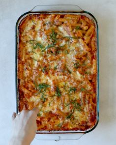 Chicken Baked Ziti: An easy and healthy casserole recipe made with Parmesan, Ricotta and Mozzarella! Be sure to watch the video to see how simple it really is.
