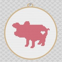 Pig Silhouette Cross Stitch PDF Pattern by kattuna on Etsy