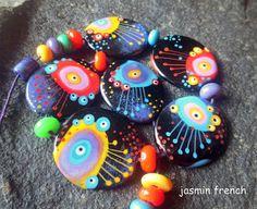 jasmin french ' dancing jellies ' lampwork beads by jasminfrench