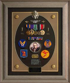 Lt Robert S. Carter, U. Army Air Force, WWII Bombardier-Navigator, POW in Stalag Luft 1 prison camp--Shadow box tribute. Military Shadow Box, Military Pins, Military Retirement, Retirement Ideas, Ribbon Decorations, Frame It, Vintage Walls, Taking Pictures, Picture Wall
