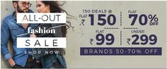 Shopclues Flat Rs. 99 & Rs. 150 Deals OR Upto 70% Off/ Under Rs. 299 Store on October 24 2016. Check details and Buy Online, through PaisaOne.