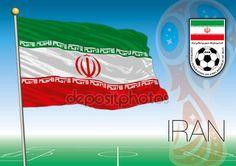 Mosca, Russia, giugno-luglio 2018 - Coppa del mondo 2018 Russia logo e la bandiera dell'Iran
