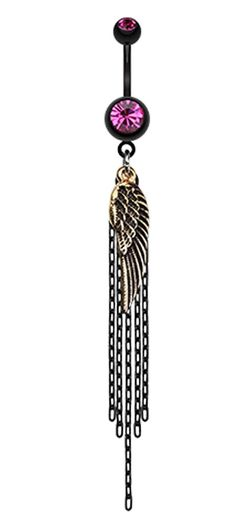 Blackline Fallen Angel Wing Chain Tassel Belly Button Ring - 14 GA (1.6mm) - Teal - Sold Individually