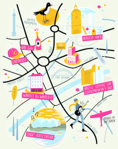 Amazing Map Illustration Examples and Tips on How to Create Them Illustration Example, Travel Illustration, Map Illustrations, Newcastle Map, Adobe Illustrator, City Map Poster, Map Projects, Map Design, Travel Books