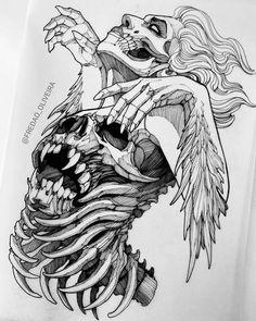 Skull Tattoo Design, Tattoo Design Drawings, Skull Butterfly Tattoo, Dark Art Drawings, Art Drawings Sketches, Dark Art Tattoo, Creepy Tattoos, Arte Obscura, Arte Sketchbook
