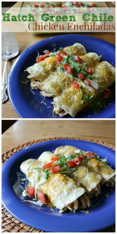 Hatch Green Chile Chicken Enchiladas a New Mexican favorite! Simple and Easy recipe for rolled green chile chicken enchiladas - Flavor of the Southwest!    CeceliasGoodStuff.com | Good Food for Good People