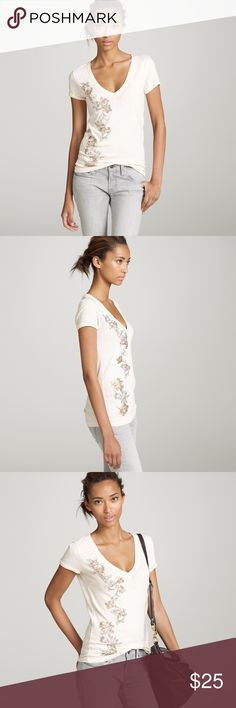 [j crew] beaded rose vine tee An abstract rose vine constructed of bugle beads and gondry-embroidered ribbon gives this deep-V textured jersey cotton tee a touch of glamour. Short sleeves. Great condition. J. Crew Tops Tees - Short Sleeve