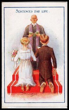 Vintage 1922 Comic Postcard women's Lib Vote Suffragettes, Sentenced for Life