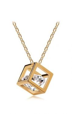 Simple and Elegant! Cube-Shaped Captured Diamond Gold Chain Necklace #Gold #Cube_Shaped #Crystal #Necklace #Fashion #Jewelry #Accessories