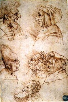 Leonardo da Vinci, Grotesque heads, drawing, c. 1490. I Love how weird and worn these faces are, I find these more beautiful to draw than a normal regular face