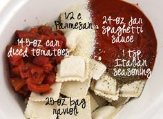 Crock pot ravioli! Having this tonight but doubled the raviolis! :) yummers!!