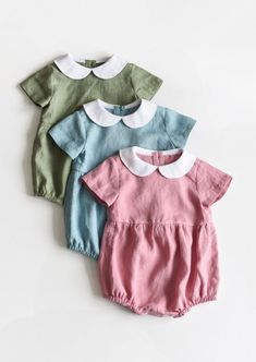Sweet Handmade Vintage Style Linen Baby Rompers | TsiomikKids on Etsy