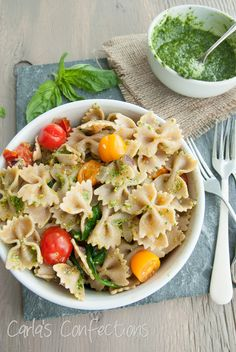 Skinny Veggie Pasta with Basil and Spinach Pesto | 29 Delicious Whole Wheat Pasta Dishes