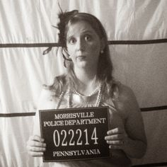 End of the Roaring 20s Speakeasy Birthday Party photo booth of prison lineup - easy simple and cheap DIY