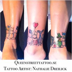 Yesterdays work on kristi from Finland! She wanted #mumin #mumintroll around her ankle with all of her favorite #mumin ❤️ <-- Tattoo Artist Nathalie Dreilick @ #Queenstreettattoo studio #helsingborg #sweden www.queenstreettattoo.se #tattoo